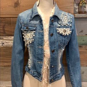 Distressed denim and pearls jean jacket